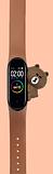 Силиконовый ремешок с милым медвежёнком на фитнес трекер Xiaomi mi band 5 Цвет Коричневый, фото 2