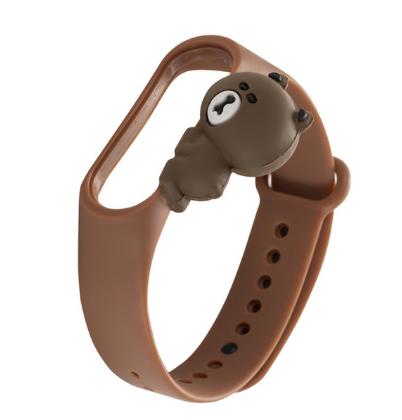 Силиконовый ремешок с милым медвежёнком на фитнес трекер Xiaomi mi band 5 Цвет Коричневый