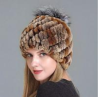 Женская шапка из меха кролика рекс с бубоном
