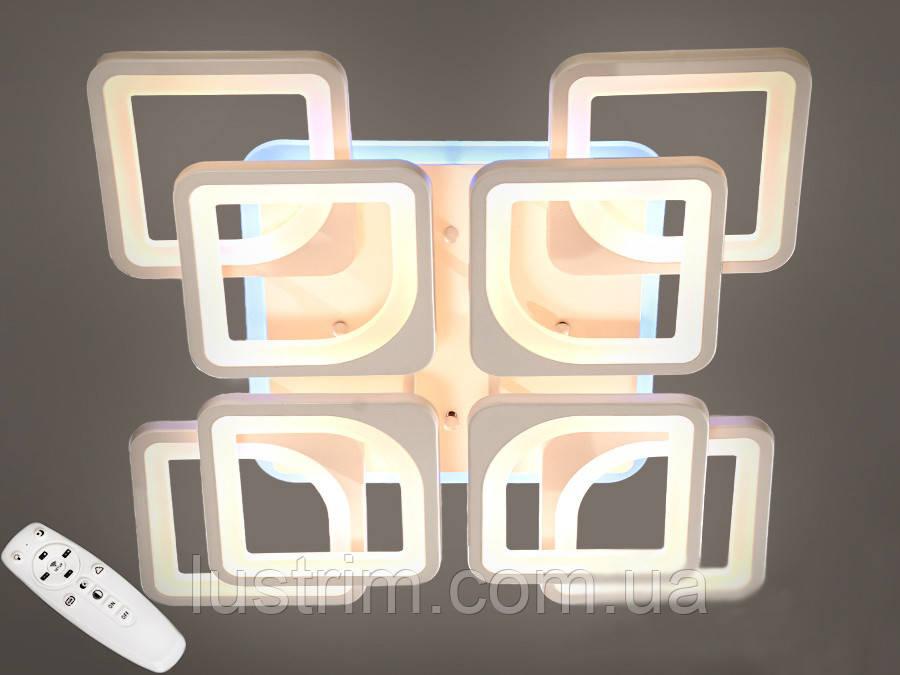 Светодиодная LED люстра с димером и цветной подсветкой 165W