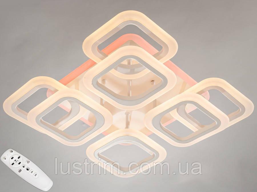 Светодиодная LED люстра с димером и цветной подсветкой 110W