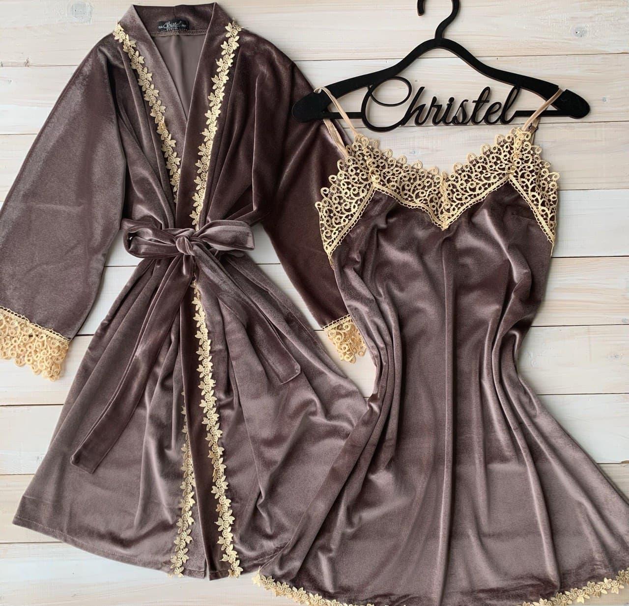 Бархатная пижама халат и комбинация