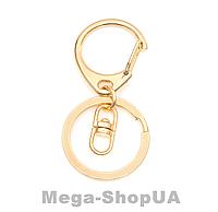 Кольцо с карабином для ключей 1 штука. Брелок для ключів Golden, фото 1