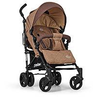 Детская прогулочная коляска-трость ME 1013L RUSH Sand,текстиль+лён,сталь+трость