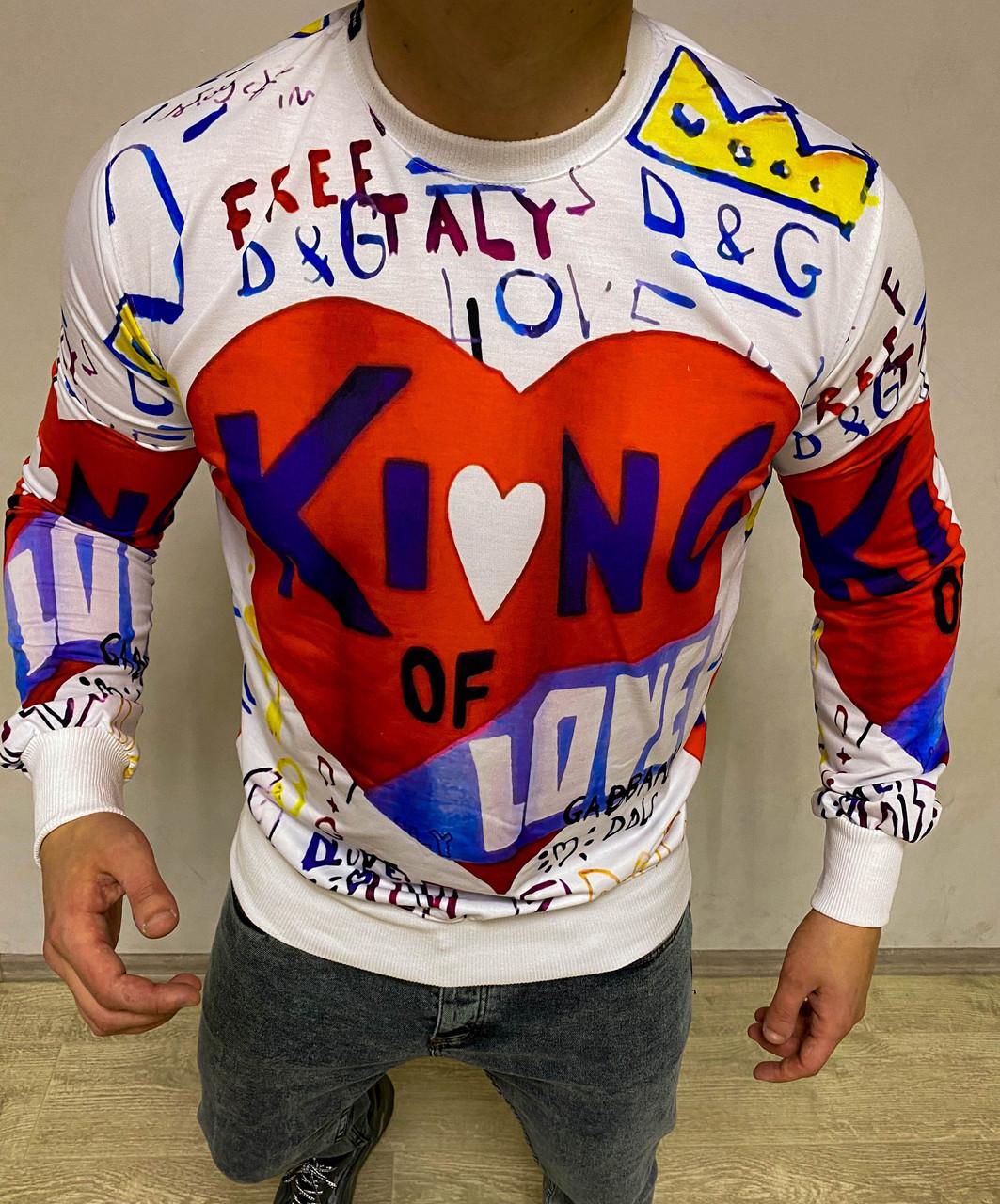 Чоловічий светр білого кольору D&G (Репліка)