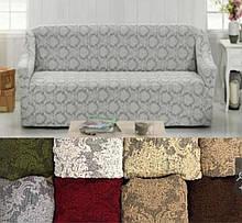 Натяжные универсальные готовые чехлы накидки на трехместные диваны без оборки  Светло серый жаккардовые