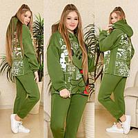 Женский утепленный спортивный костюм Микки Маус, теплый, практичный и приятный к телу, зеленый, Selesta