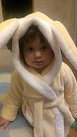 Детский халат плюшевый с капюшоном Зайка р. 92 см