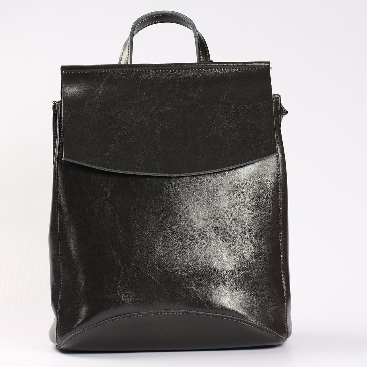 """Женский кожаный рюкзак-сумка (трансформер) """"Анжелика Gray"""""""