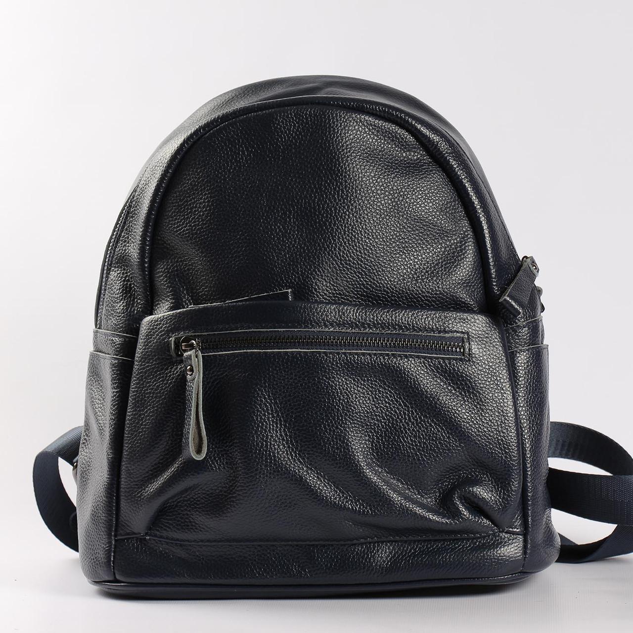 """Большой рюкзак из натуральной кожи черного цвета """"Агрус 2 Blue"""""""