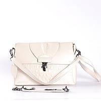 "Женская сумка кожаная под аллигатора белая ""Мелитта White"", фото 1"