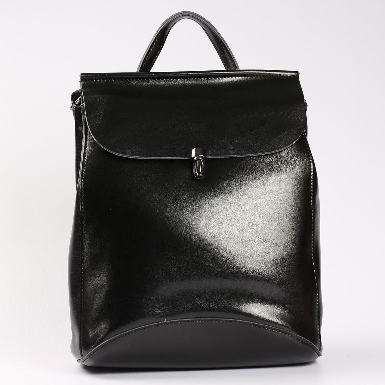 """Молодежный кожаный рюкзак-сумка(трансформер) черного цвета """"Кристи Black"""""""