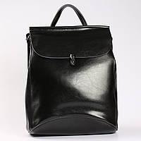 """Молодежный кожаный рюкзак-сумка(трансформер) черного цвета """"Кристи Black"""", фото 1"""