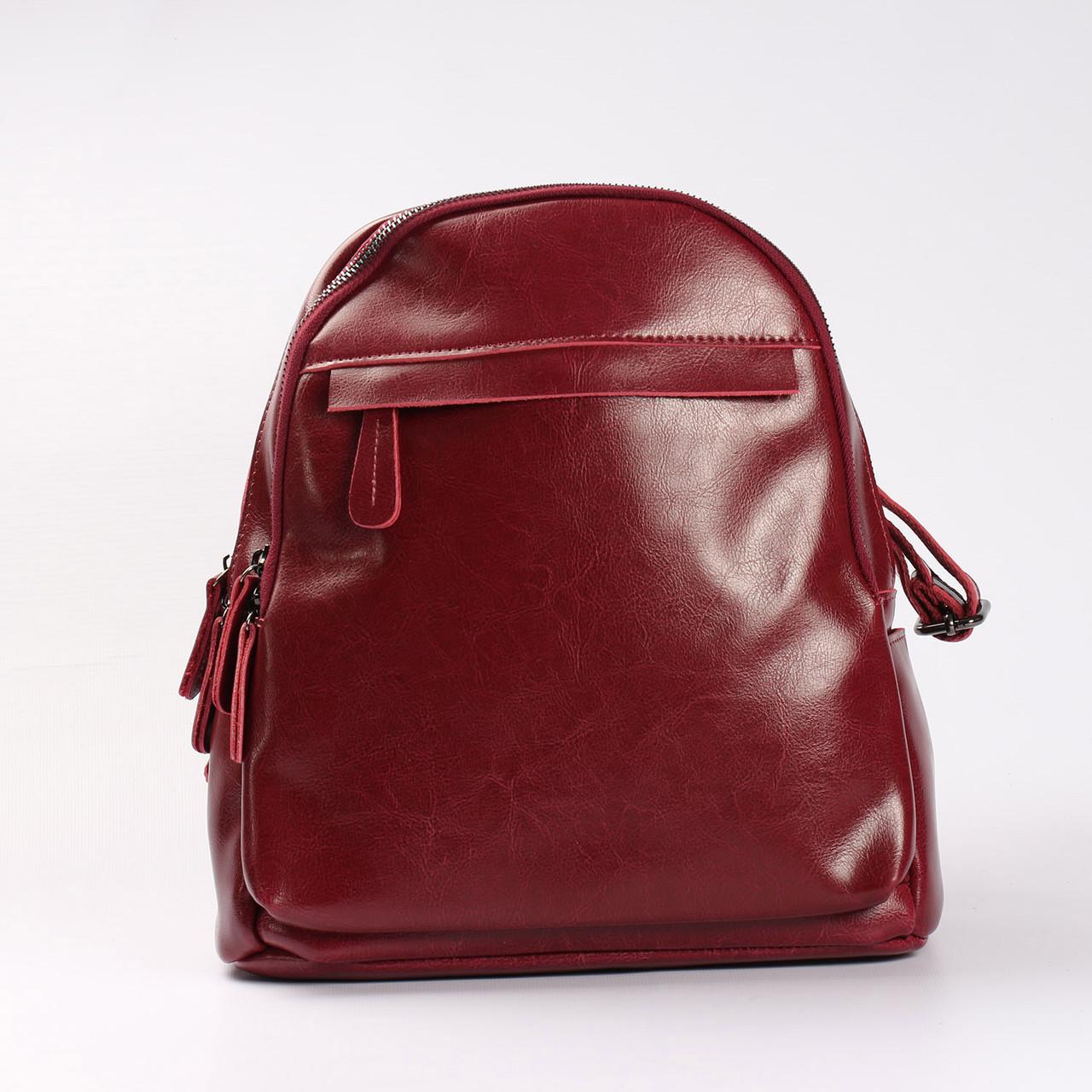"""Женский кожаный рюкзак на 2 отделения бордового цвета """"Карина Red"""""""