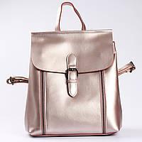 """Женский кожаный рюкзак-сумка (трансформер) розового перламутрового цвета """"Милла Bright Pink"""", фото 1"""