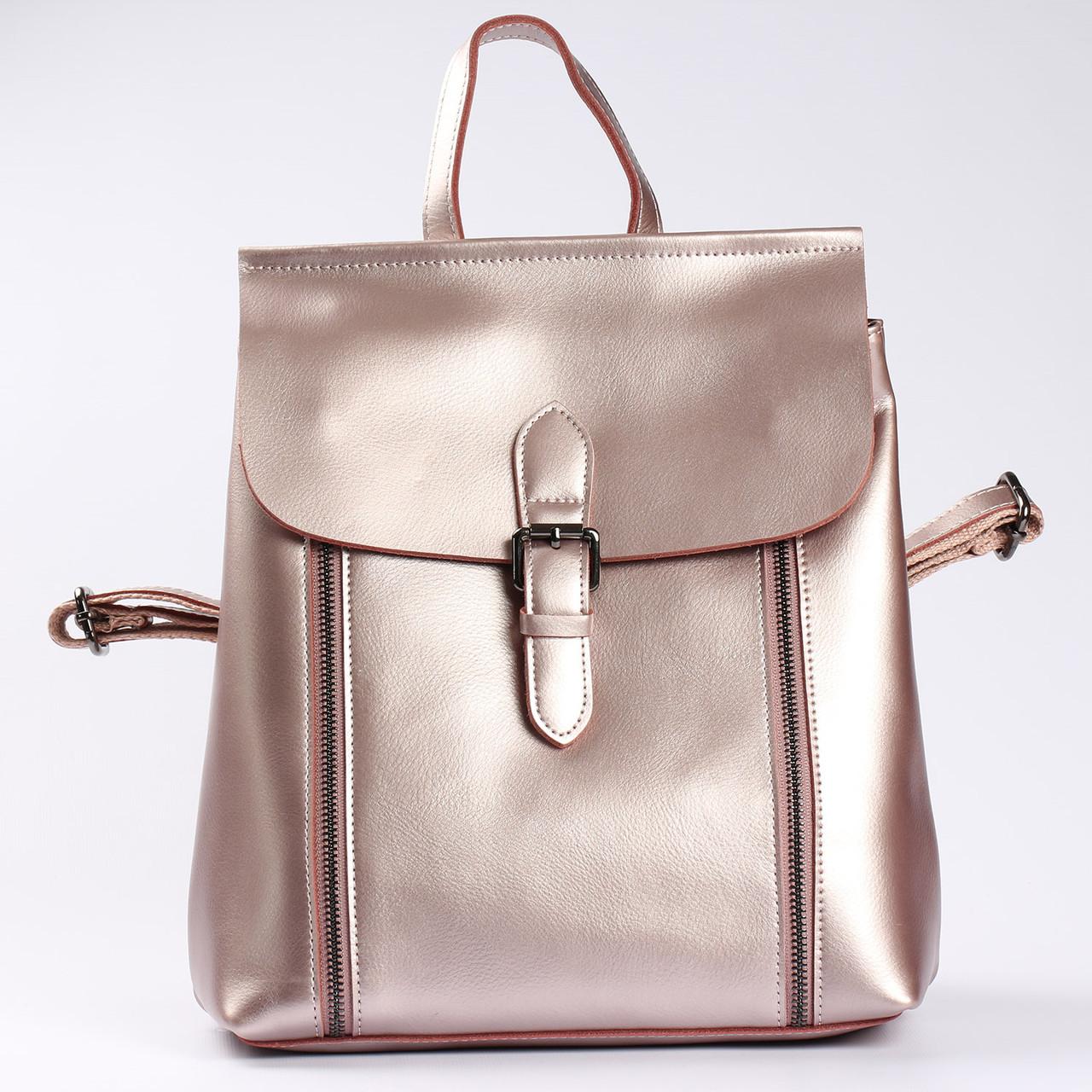 """Женский кожаный рюкзак-сумка (трансформер) розового перламутрового цвета """"Милла Bright Pink"""""""