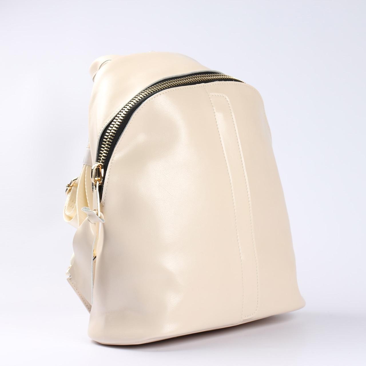 """Вместительный кожаный рюкзак молочного цвета """"Салли White"""""""