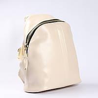 """Вместительный кожаный рюкзак молочного цвета """"Салли White"""", фото 1"""