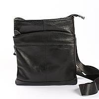 """Мужская кожаная сумка через плечо, черная """"Бонд Black"""", фото 1"""