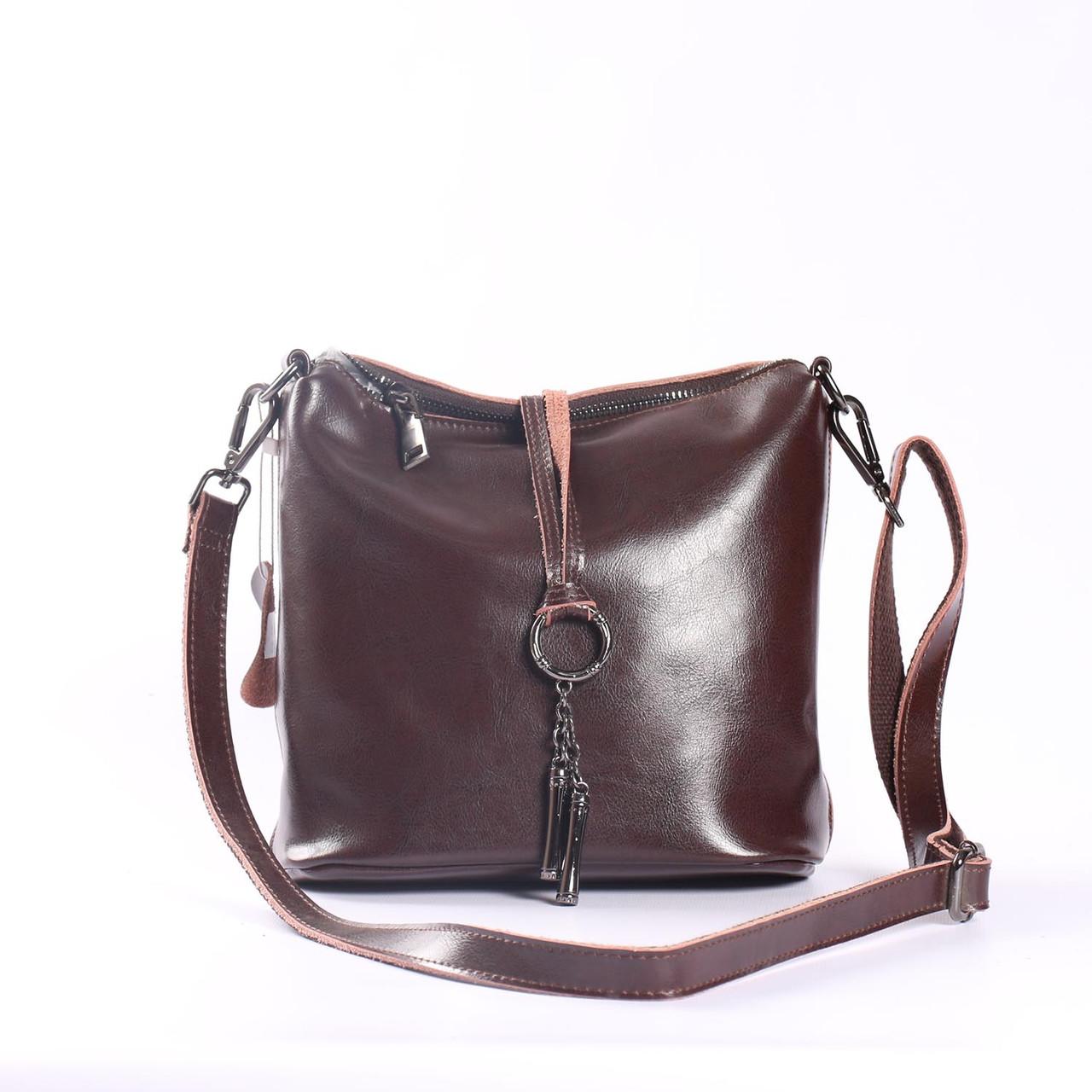 """Женская кожаная сумка коричневая """"Тринити Brown"""""""""""