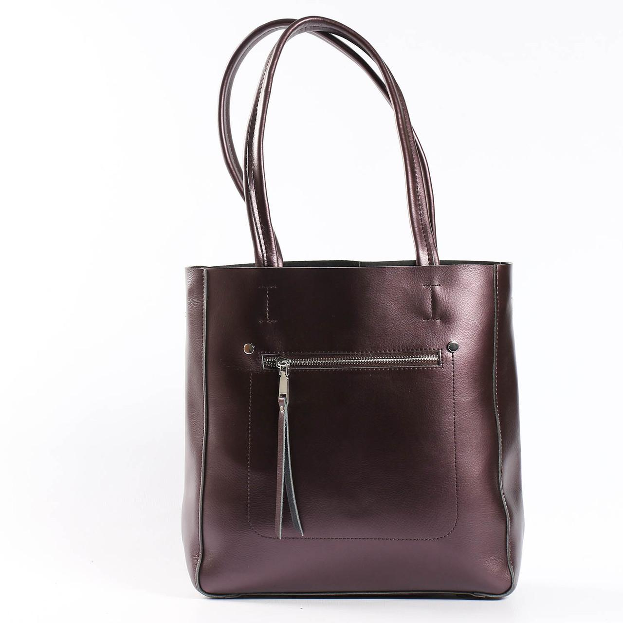 """Кожаная женская вместительная сумка """"Стелия Bright Brown"""""""