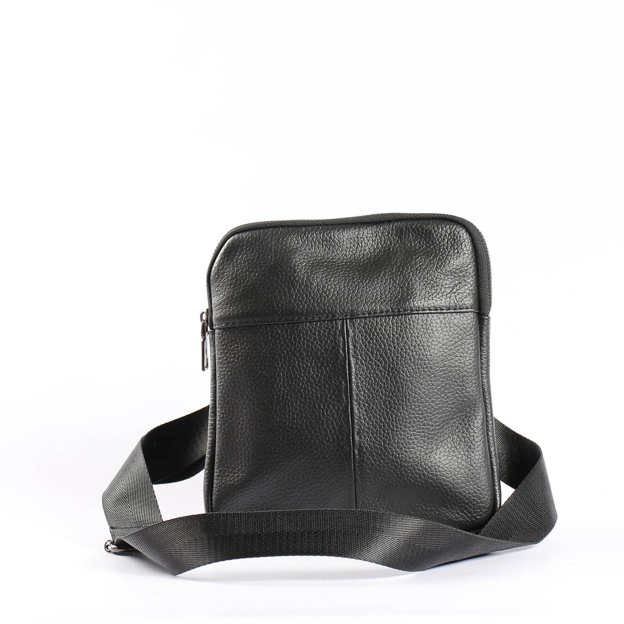 "Мужская кожаная сумка черная ""Адриан 1 Black"""