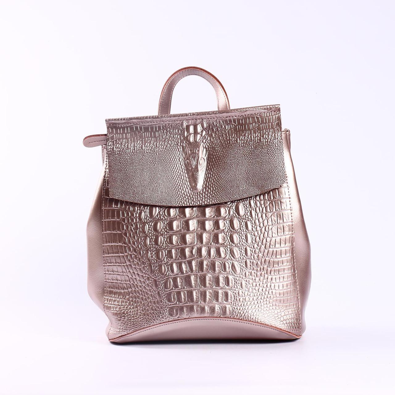 """Кожаный рюкзак-сумка (трансформер) с тиснением крокодила  """"Крокодил Bright Pink"""""""