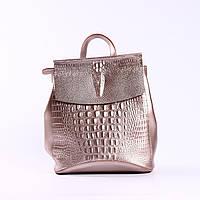 """Кожаный рюкзак-сумка (трансформер) с тиснением крокодила  """"Крокодил Bright Pink"""", фото 1"""