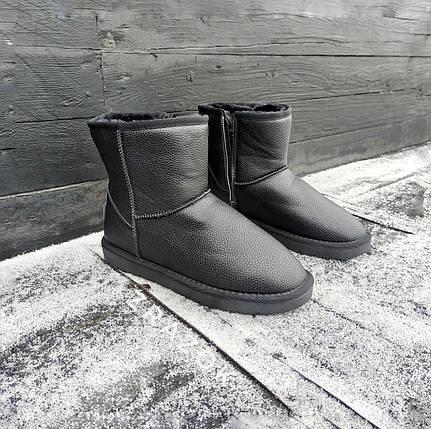 Кожаные угги UGG мужские черные со змейкой высокие эко кожа зимние ботинки валенки теплые, фото 2