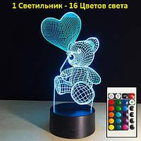3D светильник Мишка с шариком, Подарки для девочек, новогодний подарок для детей