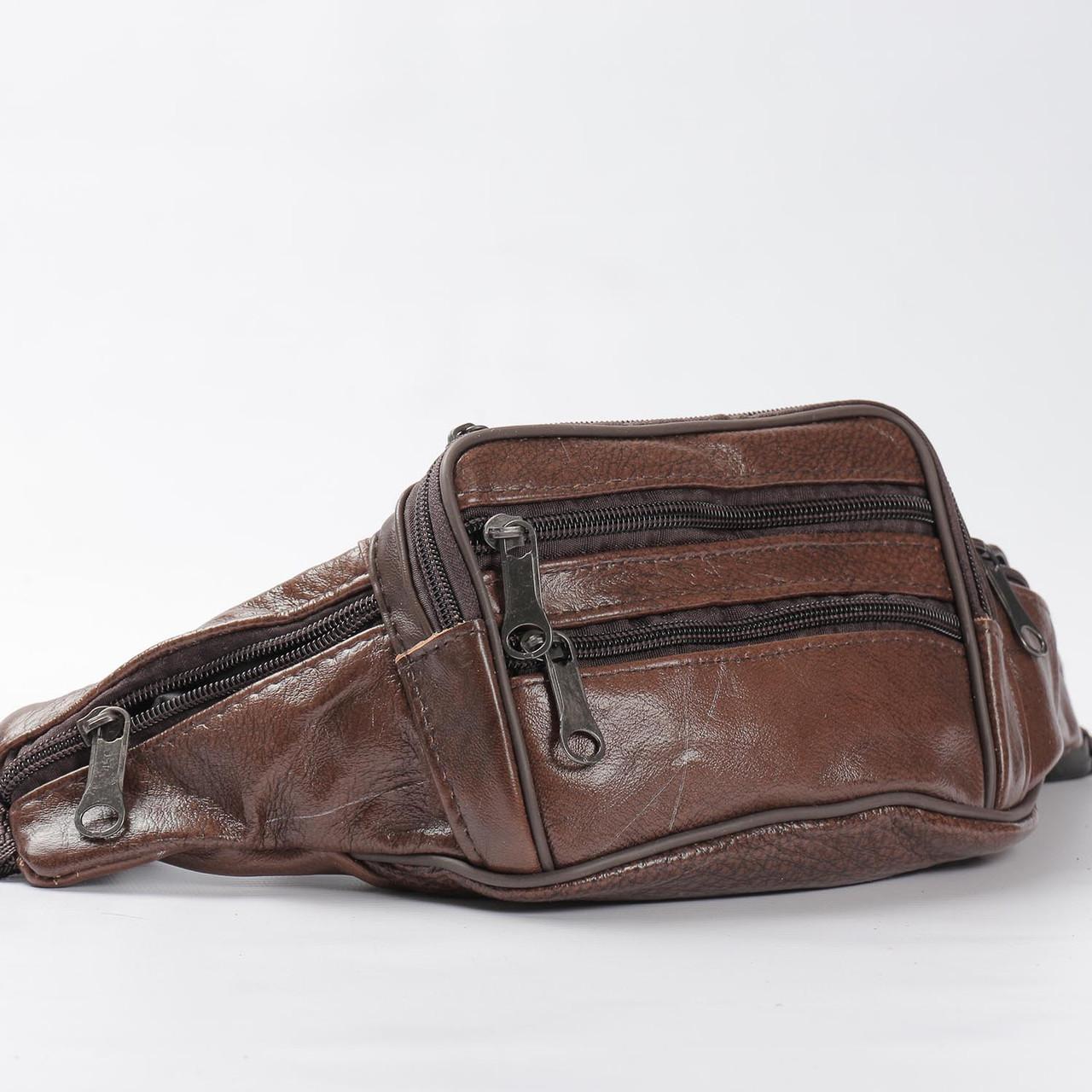 """Мужская кожаная сумка на пояс, бананка  """"Круговорот Brown"""""""