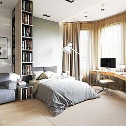 Как организовать зонирование спальни и и рабочего мини-кабинета в одной комнате- варианты дизайна