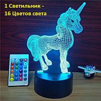 3Д Ночник Единорог, Необычный подарок девочке, 3D Led Светильники Подарки детям