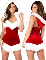 Сексуальный новогодний костюм снегурочки санта клаус платье с капюшоном, S-XXL (размеры)