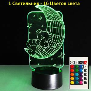 Светильник детский настольный Мишка на луне, Светильник 3D, Креативные подарки для детей