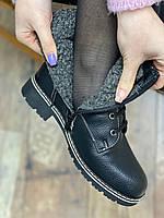 Черевики жіночі зимові 6 пар в ящику чорного кольору 36-41, фото 4