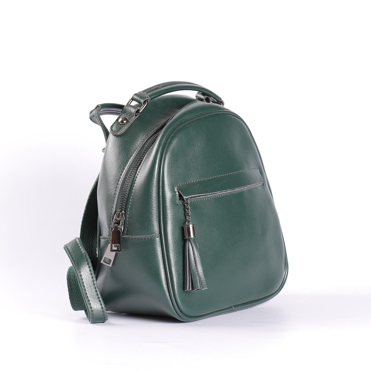 """Кожаный рюкзак-сумка (трансформер) мини  """"Калисто Dark Green"""""""