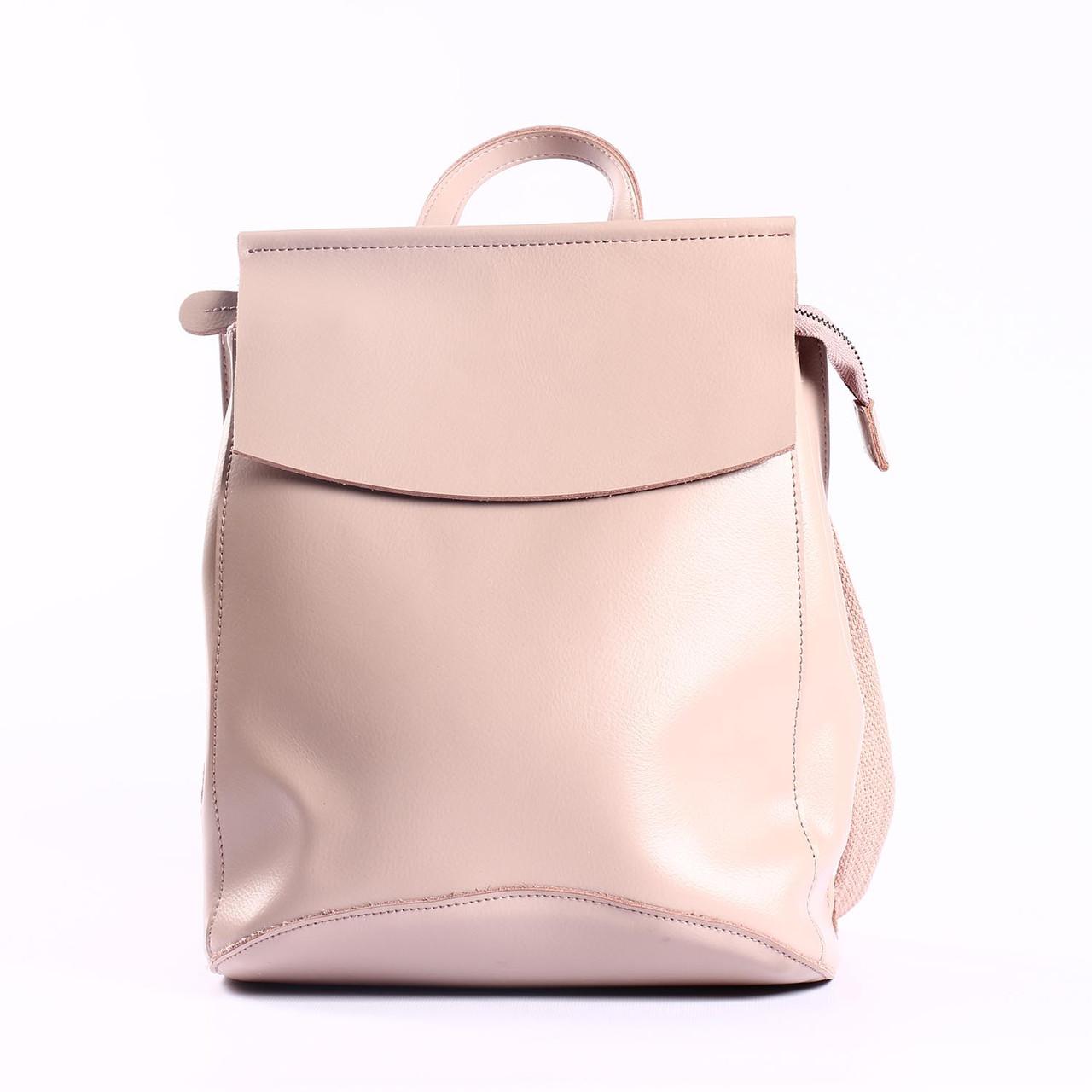 """Повседневный кожаный рюкзак-сумка (трансформер), розовый """"Анжелика Light Pink"""""""