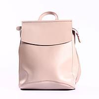 """Повседневный кожаный рюкзак-сумка (трансформер), розовый """"Анжелика Light Pink"""", фото 1"""
