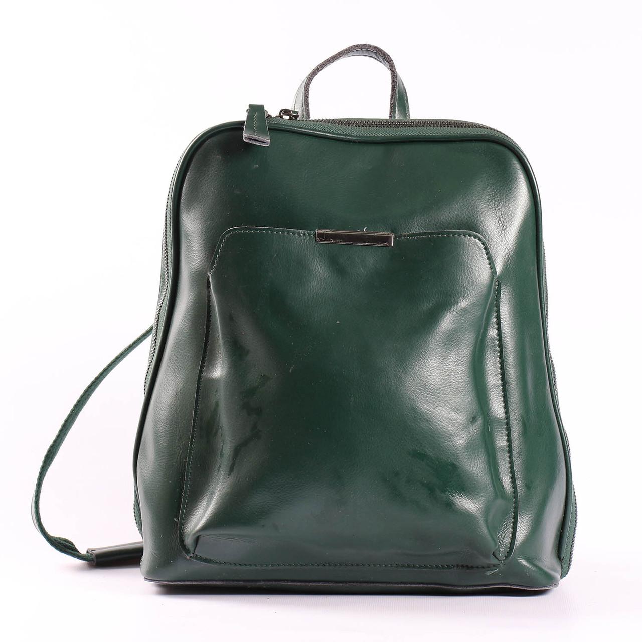"""Кожаный рюкзак-сумка (трансформер) зеленый для формата А4 """"Сири Green"""""""