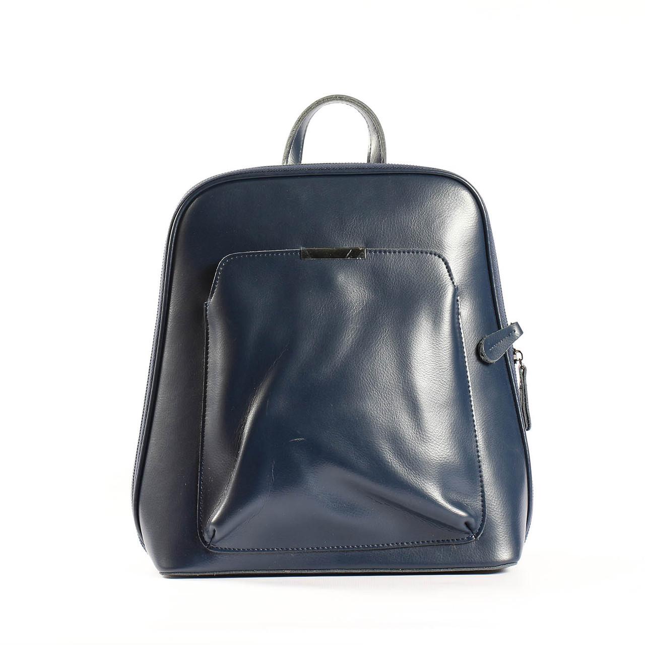 """Кожаный рюкзак-сумка (трансформер) синий для формата А4 """"Сири Dark Blue"""""""