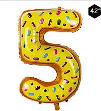 Фольгированный шар цифра 5 пончик в глазури 95 см