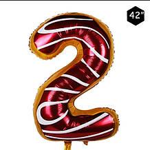 Фольгированный шар цифра 2 пончик пончик в глазури  95 см