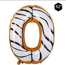 Фольгированный шар цифра 0 пончик в глазури 95 см