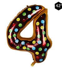 Фольгированный шар цифра 4 пончик в глазури 95 см