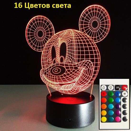 1 Світильник -16 кольорів світла! Нічні лампи дитячі, Міккі Маус. Дитячі світильники, лампи, світильники 3D