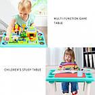 Детский игровой столик с конструктором 300 деталей,  Столик с песочницей 2 в 1 Study Table, фото 6