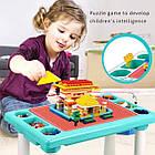 Детский игровой столик с конструктором 300 деталей,  Столик с песочницей 2 в 1 Study Table, фото 7