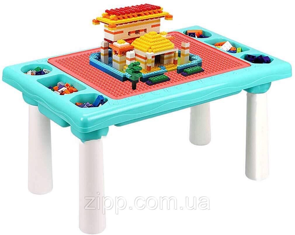 Детский игровой столик с конструктором 300 деталей,  Столик с песочницей 2 в 1 Study Table