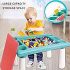 Детский игровой столик с конструктором 300 деталей,  Столик с песочницей 2 в 1 Study Table, фото 2